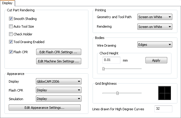 Display Preferences gibbscam – Cad cam Engineering WorldWide